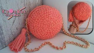 طريقة كروشيه حقيبة يد دائرية بخيط الكليم // Crochet a Round Bag T- Shirt Yarn