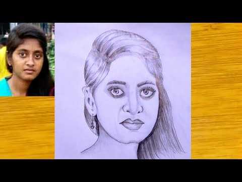 How to draw a girl (Drawing Tutorial) // Pencil Sketch drawing - step by step. thumbnail