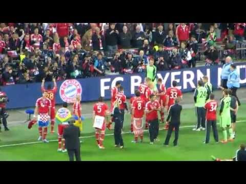 UEFA Champions League Final 2013: Bayern Munich players celebrate with fans