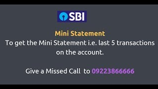 How To Get SBI  Mini Statement Through Missed Call or SMS