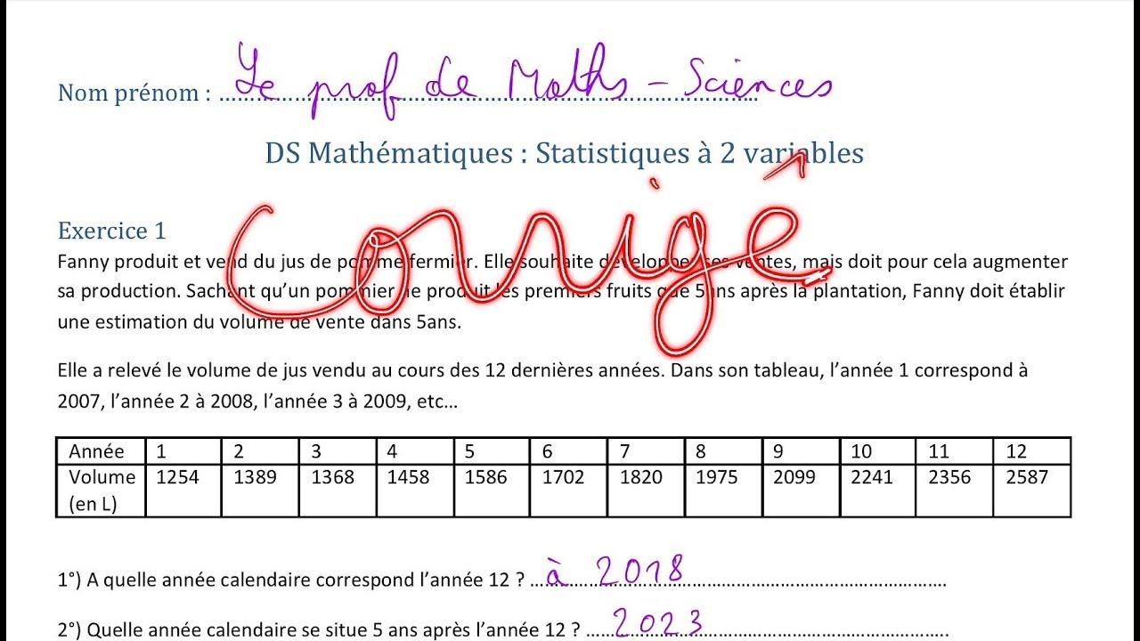 correction DS statistiques à 2 variables Terminale bac pro ...