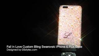 Fall in Love Custom Swarovski Crystal Bling iPhone 6 Plus Case Thumbnail