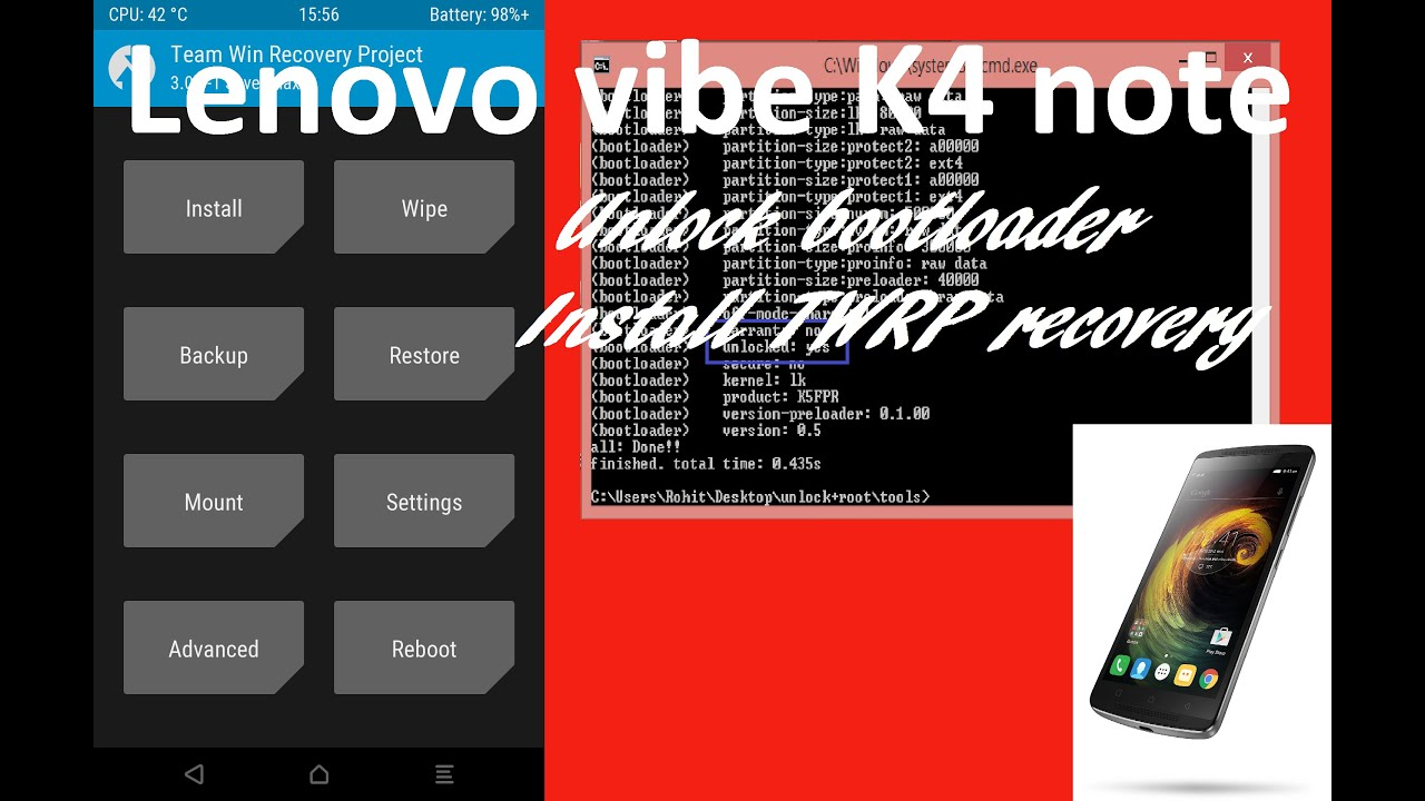 [Lollipop] Unlock bootloader and Install TWRP recovery in Lenovo K4  note/A7010a48