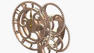 Wooden Gear Clock Time Laps : 60 Minutes In 20 Sec