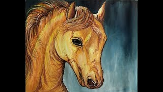 How to Draw Horse Face by Water Color