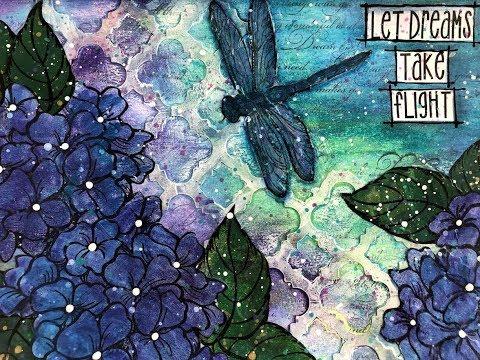"""Art Journal Tutorial-"""" Let Dreams Take Flight""""  Stamps, DieCuts, Inktense Blocks"""