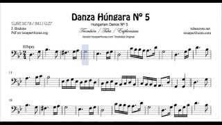 Danza Húngara Nº5 Partitura de Trombón Tuba y Bombardino en Clave de Fa