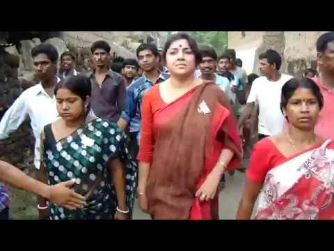 Bengali cinema  actress Locket Chatterjee at  canvass Ulkunda ,Mayureswar ,Birbhum,Village BJP