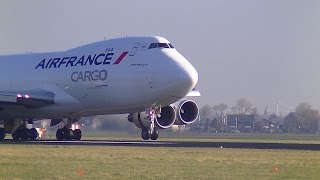 Air France Cargo B747-400F F-GIUA Landing and Take-off at Schiphol Intl. Airport (jelmerpilotHD)