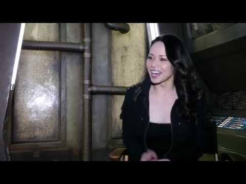 Melissa O'Neil on the set of 'Dark Matter'