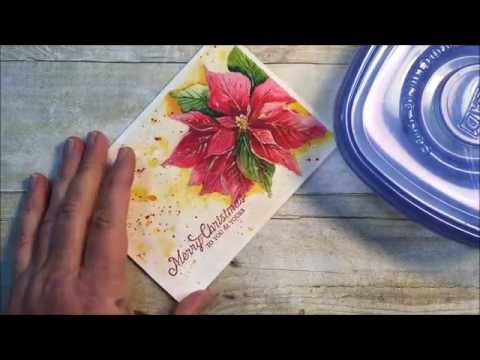 Hand painted watercolor poinsettia embossed sentament for Painted christmas cards