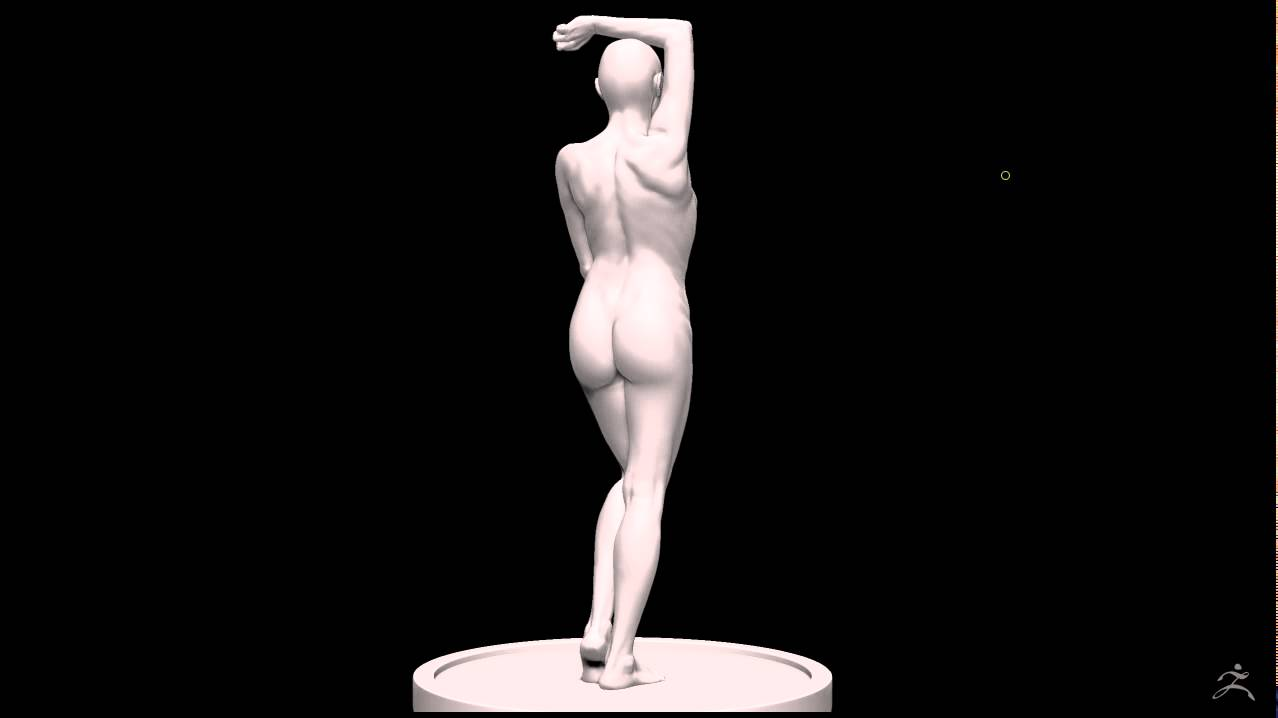 3D Modeling Nude Female Turntable