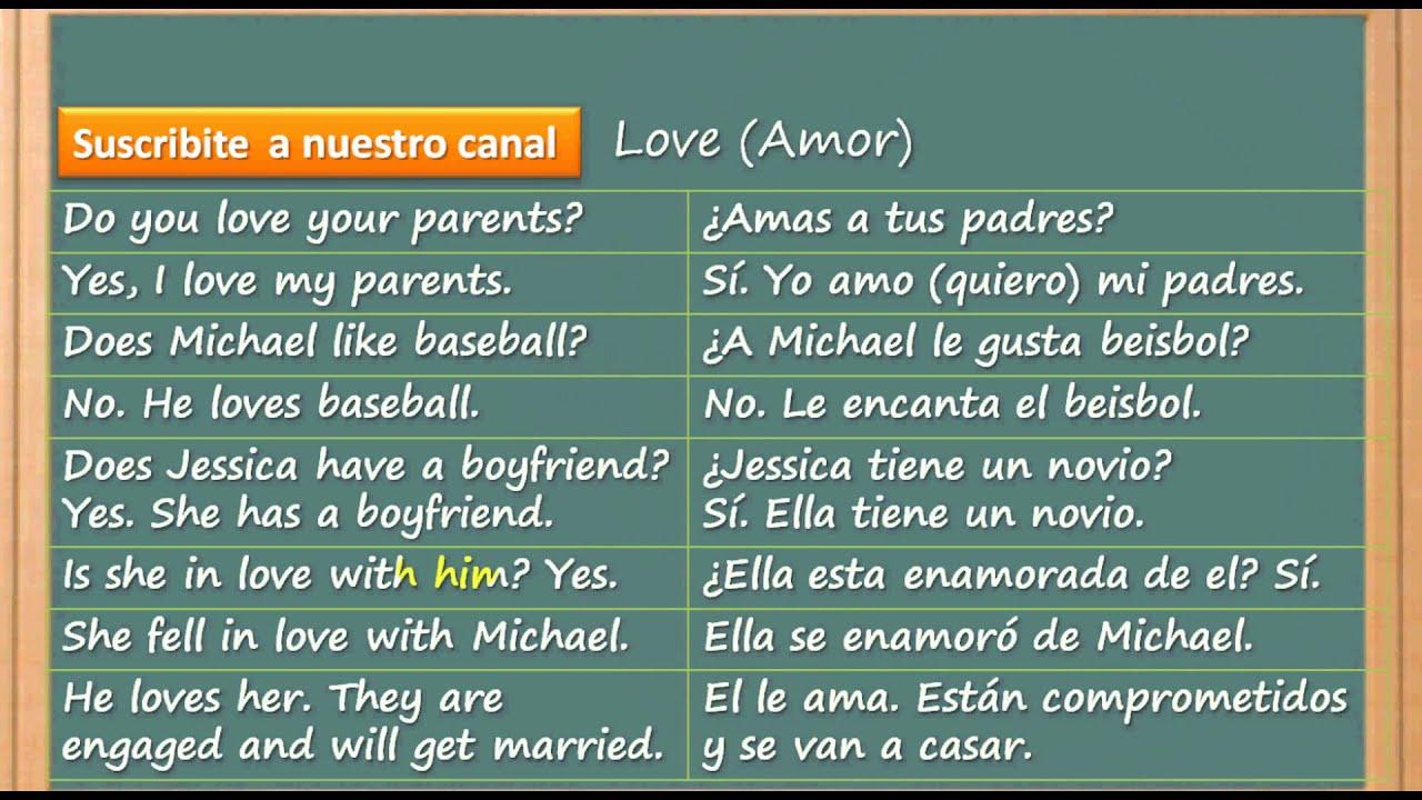 C³mo Aprender Inglés Rápido y Fácil Amor y querer