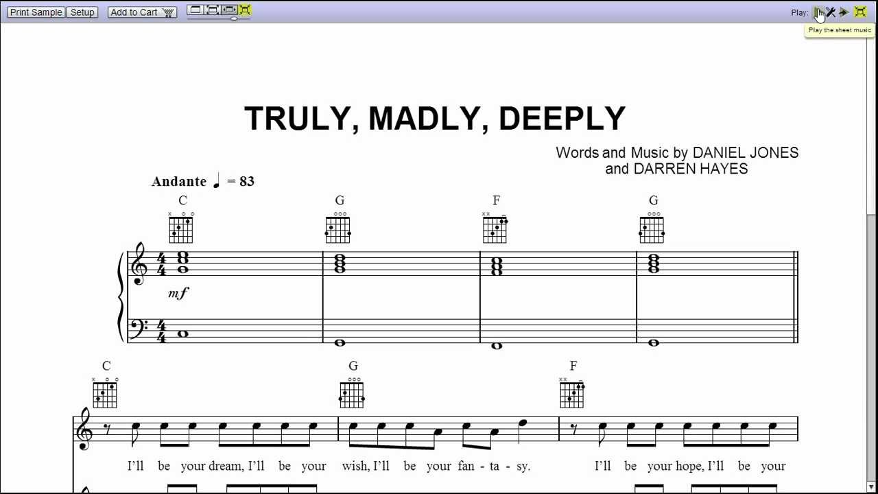 Truly Madly Deeply Piano Sheet Music Youtube