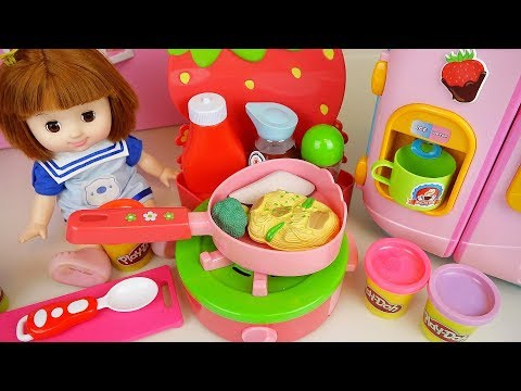 Ba doll kitchen food color change toys with play doh bay Doli play