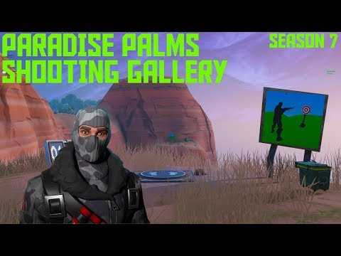 Get a Score of 5 or More at the Shooting Gallery East of Paradise Palms LOCATION Fortnite Week 10