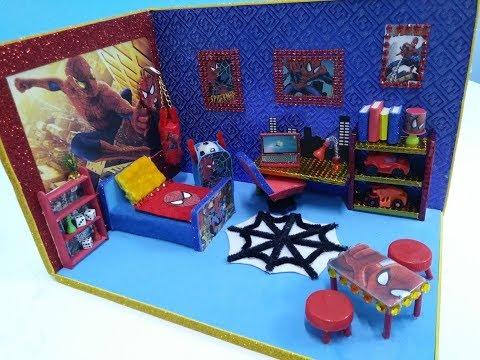 New DIY Dollhouse miniature room~Spiderman room for boys!!!!!!! #10
