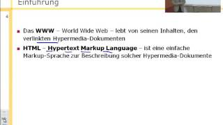 Internet- und WWW-Technologien, HTML - Hypertext Markup Language