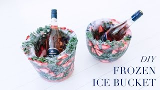DIY Frozen Ice Bucket... Add fruit, flowers and leaves!