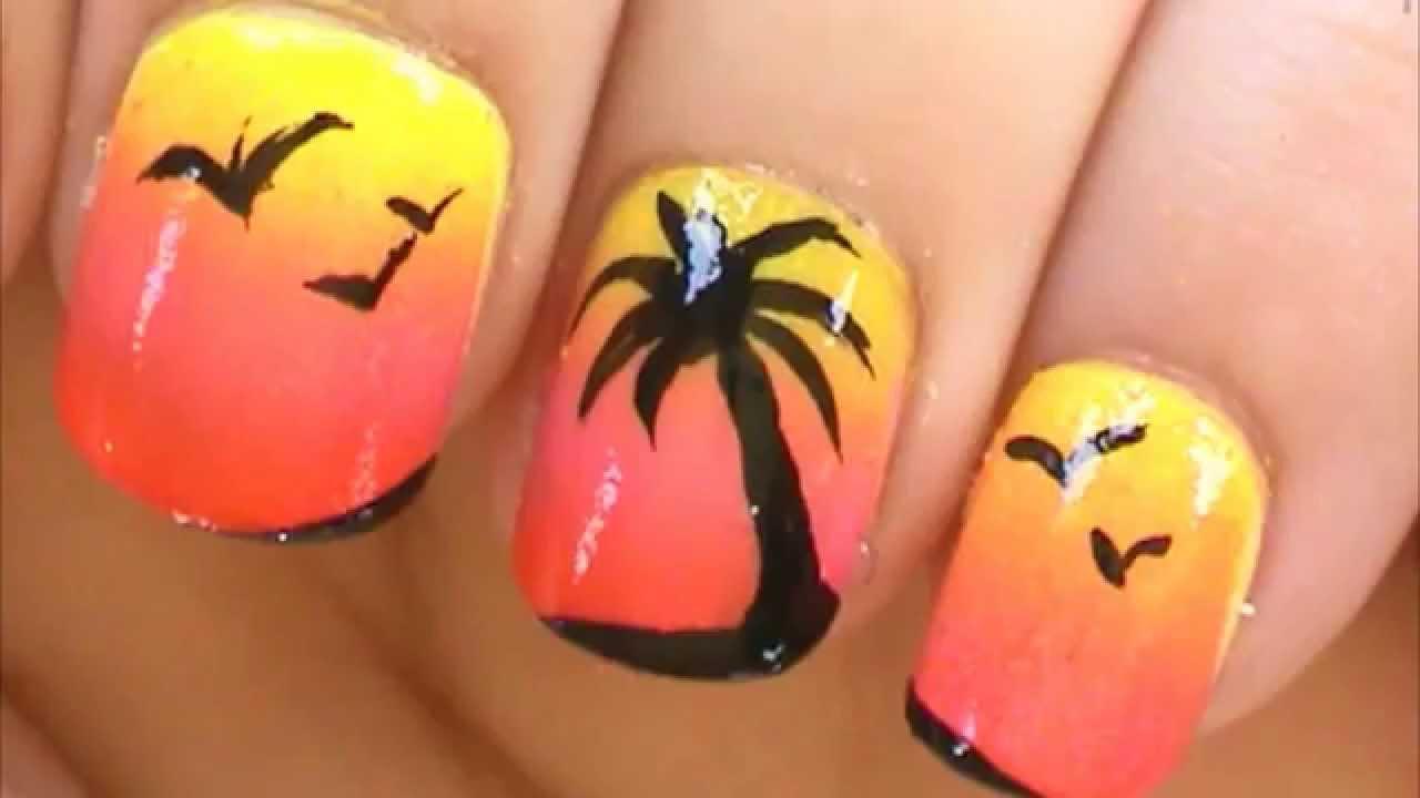 Palm Tree Nail Art Tutorial   Simple Nail Art Designs - Palm Tree Nail Art Tutorial Simple Nail Art Designs - YouTube