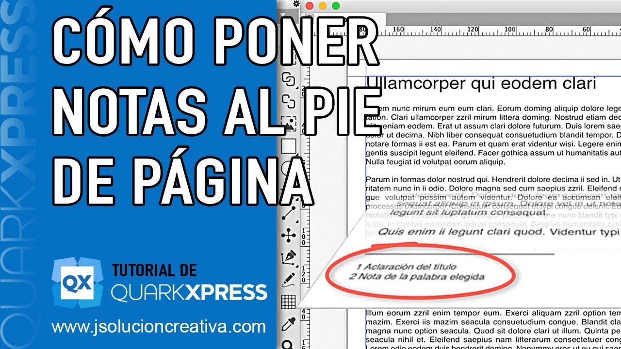 Cómo Poner Notas Al Pie De Página En Quarkxpress Youtube