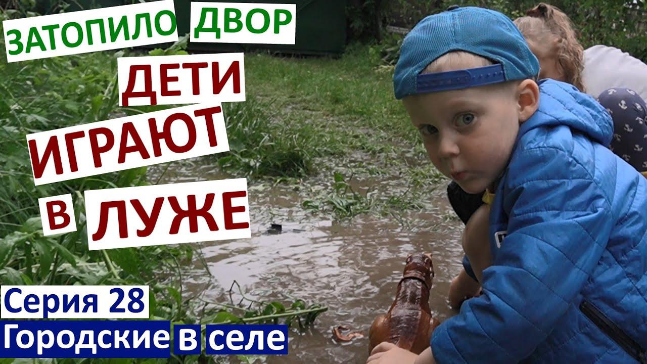 Серия 28. Дети купаются в луже и грязи. Размыло огород.Ливень. Дима уехал в Киев.