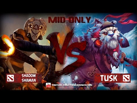 видео: shadow shaman vs tusk [Битва героев mid only в dota 2]