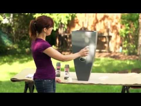 How to Spray Paint Metal Planters featuring Krylon Rust Protector
