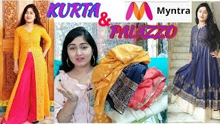 Myntra kurti palazzo shopping haul/myntra kurta haul 2019/how to wear palazzo with kurta and top