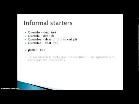 Spanish letter writing formal and informal forms