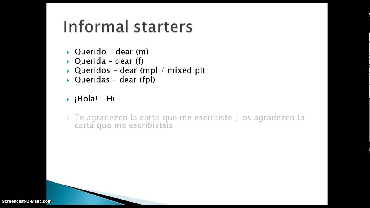Spanish letter writing formal and informal forms youtube spanish letter writing formal and informal forms m4hsunfo
