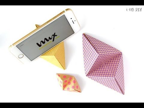 DIY   Origami mobile stand / holder - tutorial     mobile holder with paper   Paper crafts   Origami