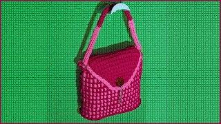 Сумка из трикотажной пряжи. Сумка крючком. Вязаная сумка. Вязание крючком. (crochet bag)