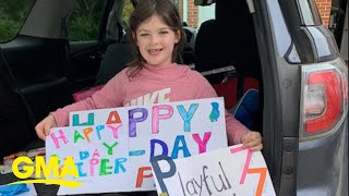 This community threw a 7-year-old girl a birthday party from their vehicles | GMA Digital