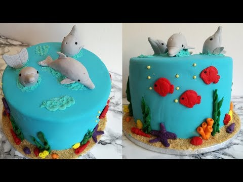 Sea Themed Cake With Dolphin Toppers|Birthday Cake Idea