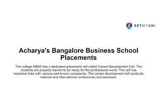 Acharya's Bangalore Business School