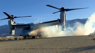 Real-life Transformer Aircraft: V-22 Hybrid Helicopter/Airplane Starting-up