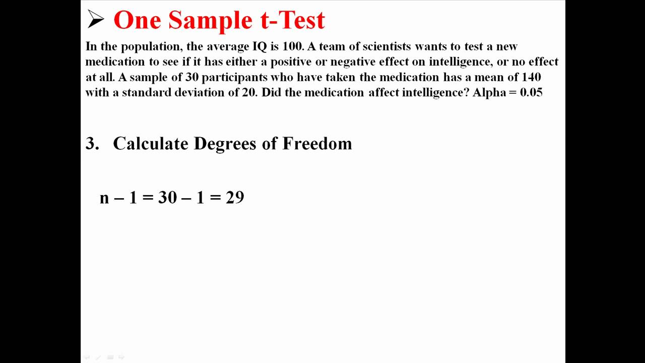 One Sample t-Test - YouTube