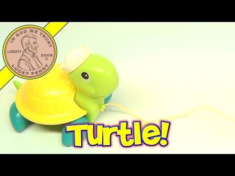 Fisher-Price Tag-A-Long Turtle Plastic Baby Pull Toy # 644, 1977