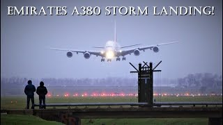 UNBELIEVABLE AIRBUS A380 HARD CROSSWIND LANDING DURING STORM @ Amsterdam Airport Schiphol