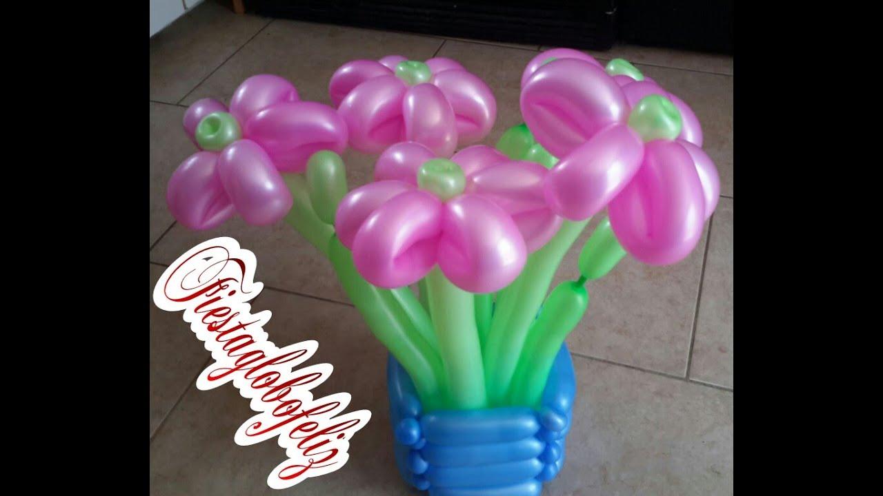 C mo hacer una flor de 6 p talos con globos youtube - Como hacer figuras con globos ...