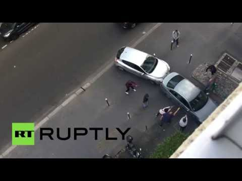 Dramatic footage: Paris police arrest suspect at gunpoint (RAW)