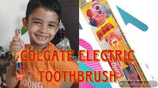 Kids review of Colgate electric toothbrush😍. Spiderman model.