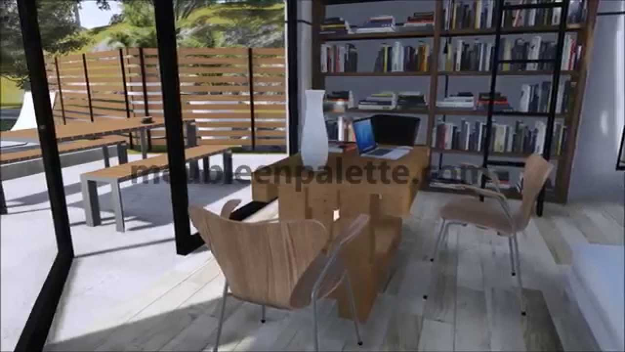 instructions tape par tape de la fa on de faire une table avec des palettes youtube. Black Bedroom Furniture Sets. Home Design Ideas