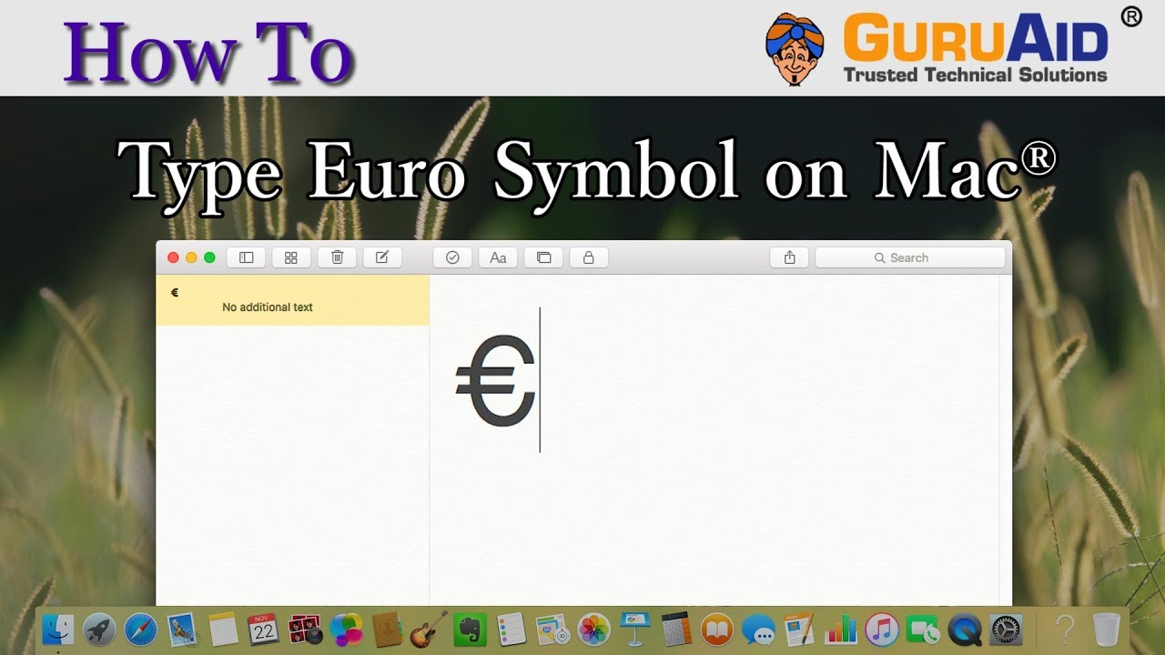 How To Type Euro Symbol On Mac Guruaid Youtube