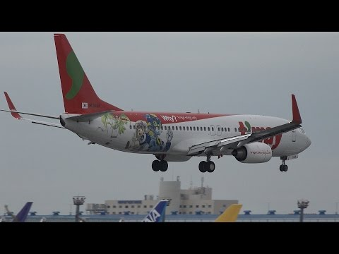 T'Way Airlines Boeing 737-800 HL8024 Landing And Takeoff [NRT/RJAA]