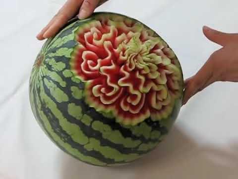 スイカのカービング、ウェーブとハート watermelon carving, curve  and heart