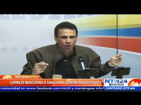Capriles aplaude sanciones de EE. UU. a Magistrados del TSJ