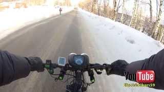 На электровелосипеде зимой, Electric bike - winter riding