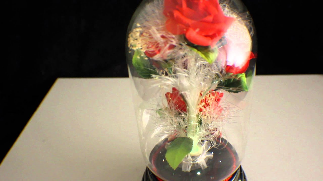 Vintage Rotating Musical Fiber Optic Rose Glass Globe Ball